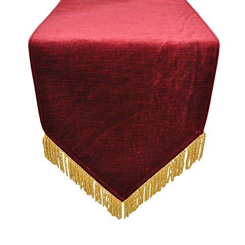 Austin Horn Classics Hamburg Velvet Red Gold Bullion Luxury Table Runner 13 x 108