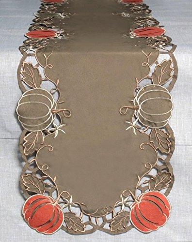 70 Brown and Orange Pumpkin Cut-Out Design Trim Thanksgiving Table Runner