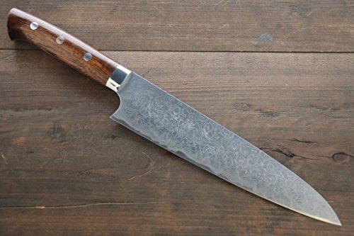 SAJI R2SG2 DIAMOND FINISH DAMASCUS GYUTO JAPANESE CHEF KNIFE 210MM WTIH IRON WOOD HANDLE