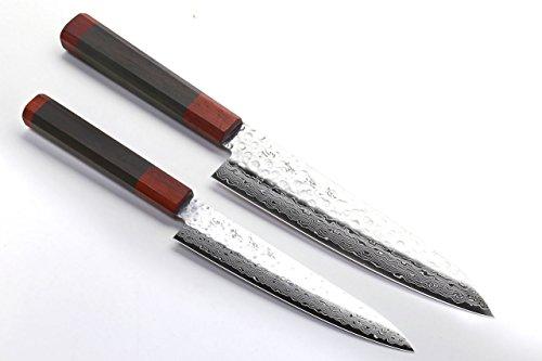 Yoshihiro NSW Hammered Damascus Gyuto Petty 2pc Set Shitan Handle with Natural Saya Cover