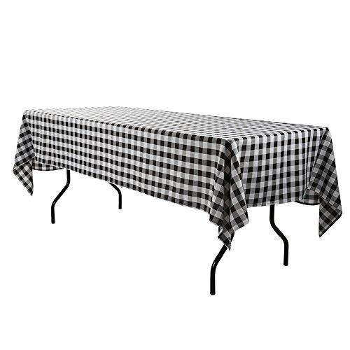 E-TEX 60x126-Inch Polyester Rectangular Tablecloth Black White Checker