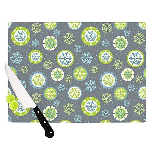 Kess InHouse Julie Hamilton Snowflake Slate Cutting Board 115 by 1575-Inch Green