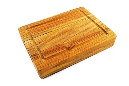 Terra Teak Bar Board Small Wood Cutting Board with Groove - 12 x 9 x 2 Inch …
