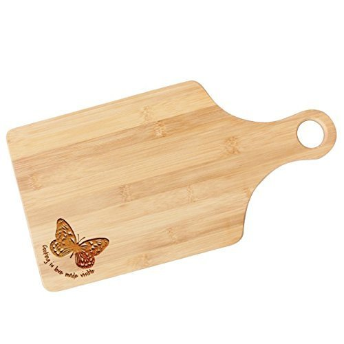 Engraved Butterfly Bamboo Wood Paddle Cutting Board - JD22
