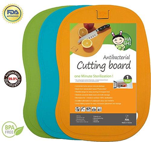 Antibacterial Cutting Board Set - 100 1 Minute Microwave Antibacterial Sterilization - Flexible Dishwasher Safe Chopping Mats - Set of 3 - by Hashi