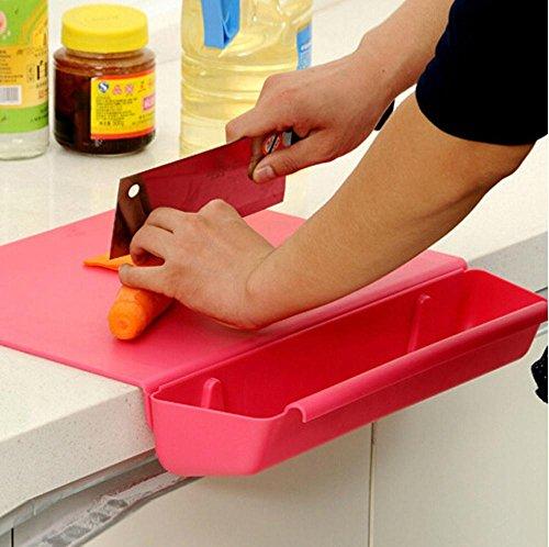Daeou Candy ribbon dish slot antibacterial cutting board chopping board folding chopping board with food basket removable combo chopping board