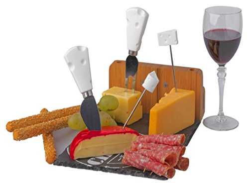 Bamboo Cheese Board with Slate Base including 4 piece Knife Set for Presenting and Enjoying Cheeses Crackers Choice Meats Fruit and Wine Perfect Gift for Creating Special Memories with Family and