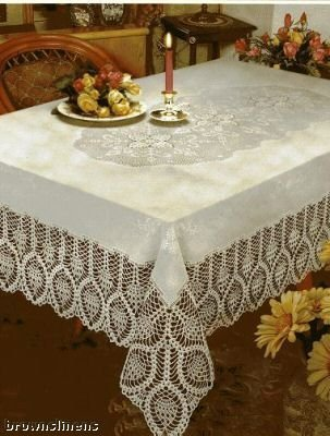 Better Home New Crochet Vinyl Lace Tablecloth Oblong 60 Wide X 108 Long White