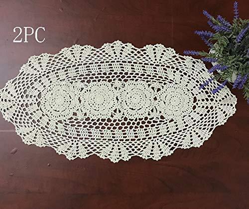 Hetao 12x23 100 Cotton Handmade Crochet lace Table Runners Oblong Tablecloth Doilies Doily2PCBeige