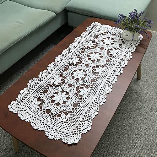 Hetao 16X39 100 Cotton Handmade Crochet lace Table Runners Oblong Tablecloth Doilies DoilyWhite