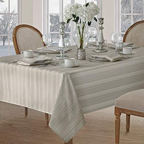 Newbridge Satin Stripe Weave No-Iron Soil Resistant Fabric Tablecloth 60 X 102 Oblong Grey