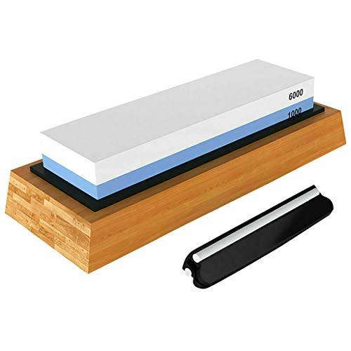 Lcyus Kitchen Knife Sharpening Stone Kit Premium Whetstone Knife 10006000 Grit Stone Sharpener Wet Two Sided Nonslip Bamboo Base Angle Guide As Show