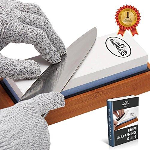 Minimass Premium 7 minuites Knife Sharpening Stone Kit 2 Side 10006000 Grit Whetstone Best Kitchen Blade Sharpener Stone Non-Slip Bamboo Base Angle GuideCut-resistant gloves and Sponge Included