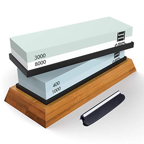 Premium Knife Sharpening Stone Kit ASEL 4 Side 4001000 30008000 Grit Whetstone Best Kitchen Blade Sharpener Stone Non-Slip Bamboo Base and Bonus Angle Guide Included