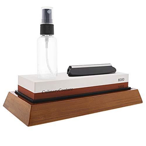 Whetstone Knife Sharpening Stone Kit - 2-Sided 1000 6000 Grit Waterstone  Kitchen Knives Blade Sharpener  Includes Angle Guide Non-Slip Bamboo Base Holder Water Spray Bottle  Bonus Ebook