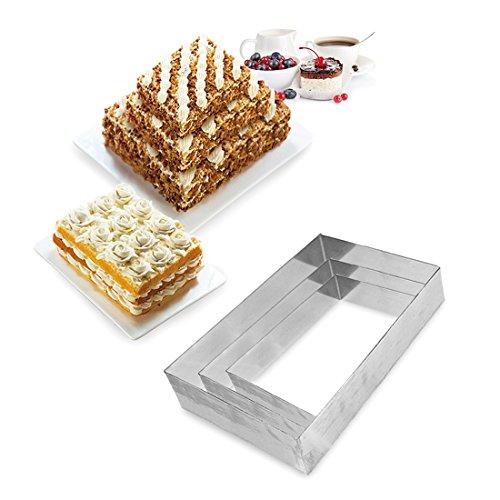 3 Tier Rectangular Multilayer Anniversary Birthday Cake Baking Pans Stainless Steel 3 Sizes Rings Rectangular Molding Mousse Cake RingsRectangular-shapeSet of 3