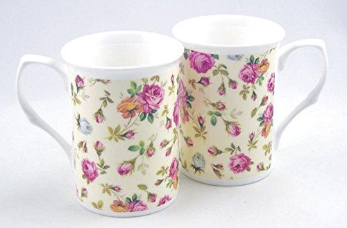 Daffodil Chintz Pair Fine English Bone China Mugs Adderley of Staffordshire England
