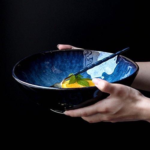 Japanese-style Creative Ceramics Bowl Noodles Fruit Salad Ramen Soup Large Bowl  Color  Blue  Size  Small