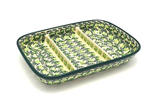 Polish Pottery Dish - Divided Rectangular - Irish Meadow