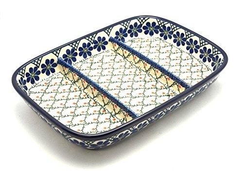 Polish Pottery Dish - Divided Rectangular - Primrose