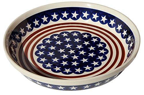 Polish Pottery Dish Pie Plate 10 From Zaklady Ceramiczne Boleslawiec 879-81 Classic Pattern Height 18 Diameter 10
