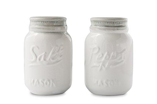 Vintage Mason Jar Salt Pepper Shakers by Comfify - Adorable Decorative Mason Jar Décor for Vintage Rustic Shabby Chic - Sturdy Ceramic in White - 35 oz Cap