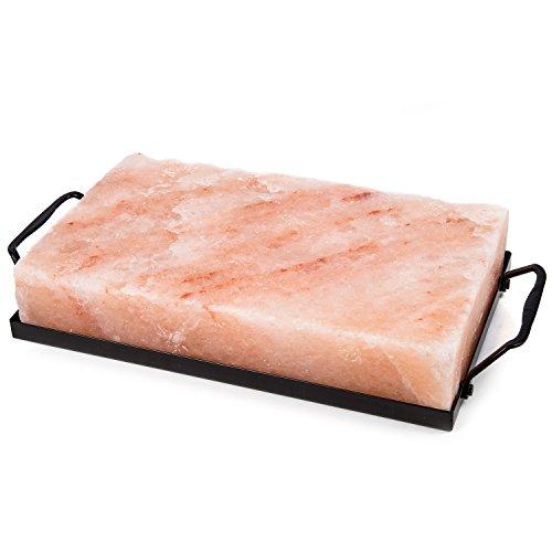 Zenware 10 x 6 x 2 Natural Himalayan Block Cooking Salt Plate Holder Set - Black