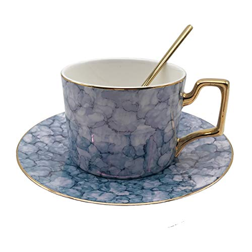 KEYIGOU Bone China Coffee Cup with Saucer and Spoon Sets Luxury Elegant Afternoon Teacup Gold-plated Marble 75-Oz Mug in Gift Box