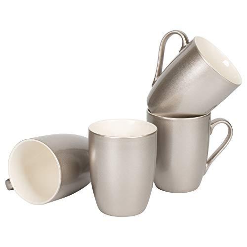 Silver Tone Metallic Finish 10 Oz New Bone China Coffee Cup Mug Set of 4