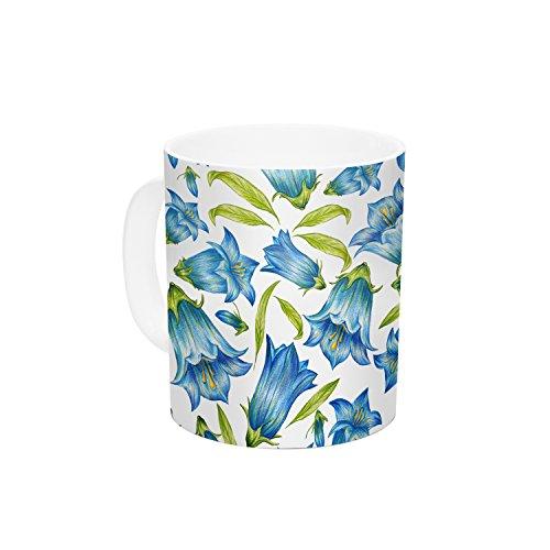 KESS InHouse Alisa Drukman Campanula Floral Blue Ceramic Coffee Mug 11 oz Multicolor