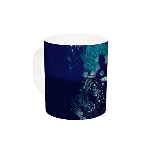 KESS InHouse Frederic Levy-Hadida The Big Friend Fantasy Blue Ceramic Coffee Mug 11 oz Multicolor