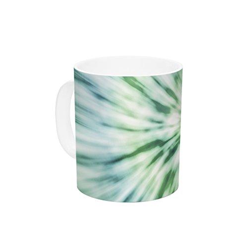 KESS InHouse Nika Martinez Green Spring Tie Dye Green Blue Ceramic Coffee Mug 11 oz Multicolor