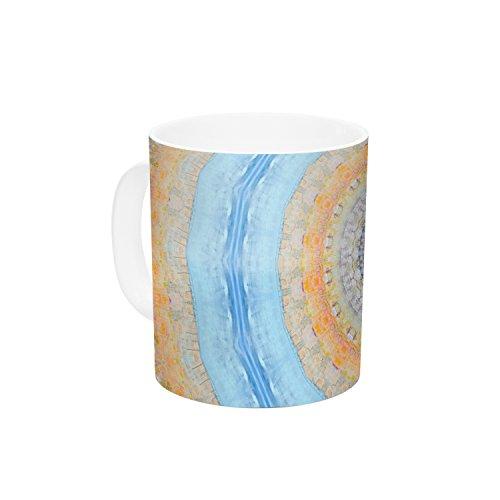 Kess InHouse Iris Lehnhardt Summer Mandala Circle Orange Blue Ceramic Coffee Mug 11 oz Multicolor
