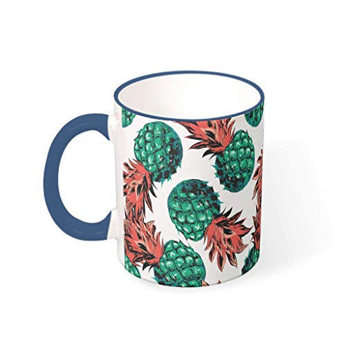cnejduwud Pineapple Fruit Summer Colorful Ceramic Cup with Handle Present Idea for MaleFemaleBossesCoworkers Midnight Blue 330ml