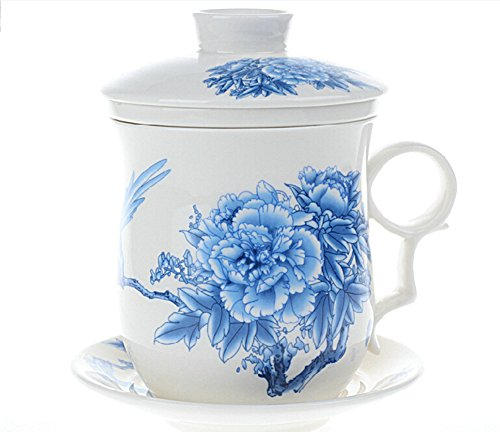 Moyishi Chinese Teaware White Porcelain Bone Tea Cups Tea Mug With Lid Blue Peony