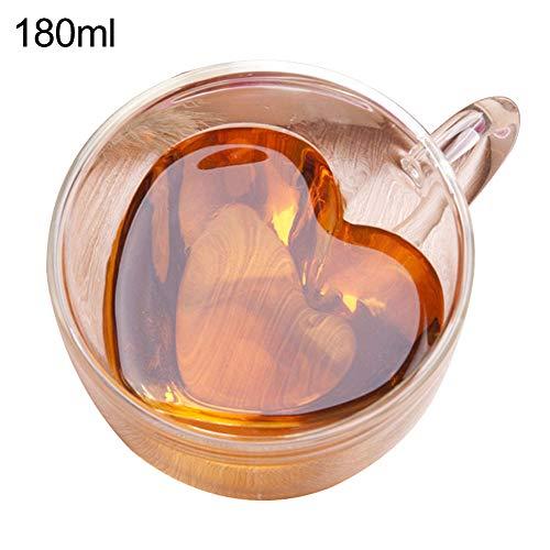 Mggsndi 180240ml Coffee Mug Heart Shape Clear Glass Coffee Cup Whiskey Double Layer Mug Drinkware - Cappuccino Latte Tea Cup Water Lead Free Glass Cups Espresso Coffee Gifts 180ml