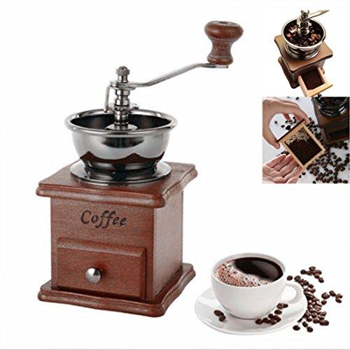 Coffee Grinder-Spice Hand Grinding Machine-Hand-crank Roller Drive-Grain Burr Mill Coffee Machine brown