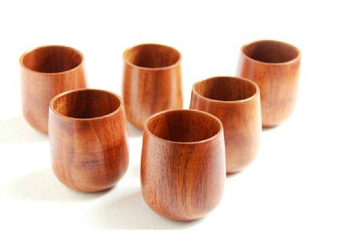 Moyishi Top-Grade Natural Solid Wood Wooden Tea Cup Wine Mug 250ml4PCS