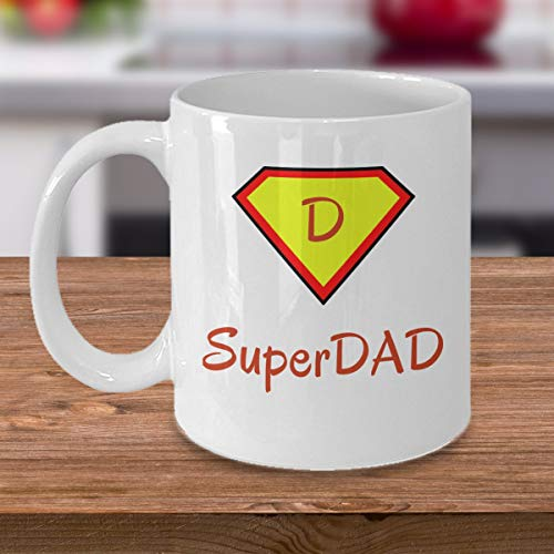 Super Dad coffee mug - Fathers day family gift - Funny love Father Family cup birthday present - Best Gag Gifts for Dad superhero