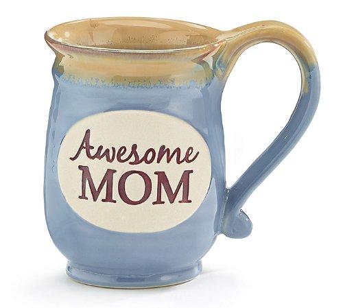 Awesome Mom Porcelain Blue Coffee Tea Mug Cup