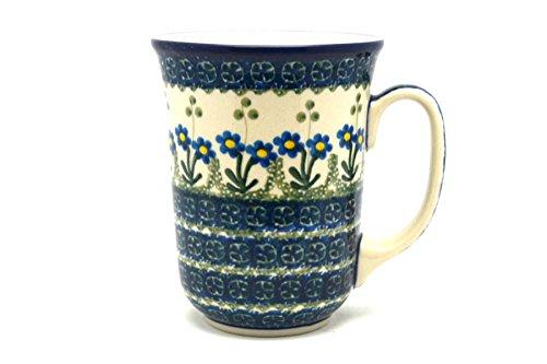 Polish Pottery Mug - 16 oz Bistro - Blue Spring Daisy