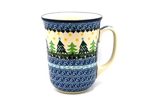 Polish Pottery Mug - 16 oz Bistro - Christmas Trees