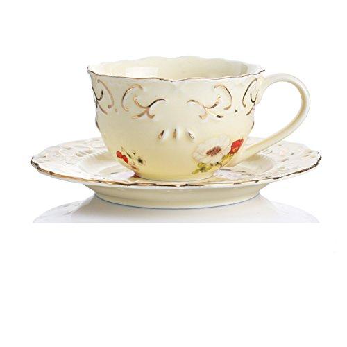 Flower vine embossed gold coffee mug teacup-A