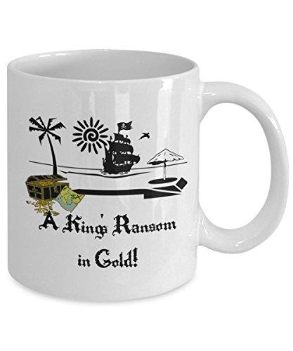 Pirate Flag Coffee Mug - Pirate Skull Mug - Pirate Ship Mug - A Kings Ransom in Gold Coffee Mug