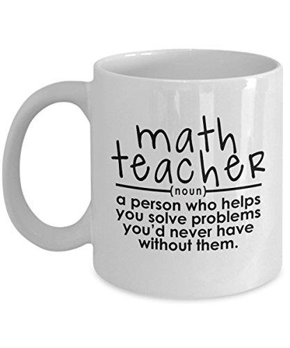 Math Teacher Mug – Helps You Solve Problems – Funny Gift for Math Lovers Women Men Tutors Elementary High School 11 Oz Coffee Cup