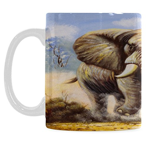 InterestPrint 11 Ounce White Ceramic Elephant Animal Wildlife Funny Travel Coffee Mug Cup with Quotes Sayings Safari Oil Painting Grassland Coffee Mug Christmas Birthday Gifts