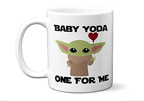 Baby Yoda One For Me Mug - Mandalorian Mug - Baby Yoda Mug Starwars Mug Novelty Mug Gift idea for Star Wars Fan - White Ceramic - Valentines Day Gift Valentines Coffee Mug 11oZ