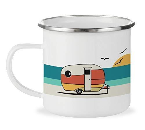 Good Vibes Retro Camper Enamel Mug 12oz Camping Coffee Mug Beach Surf Lover Gift Camp Outdoor Mug