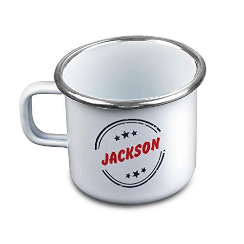 Personalized Custom Text Monogram Starts Metal Camping Mug Enamel Cup