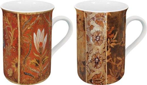 Konitz 2 Lotus Flower and 2 Flowers Tapestry Mugs Set of 4